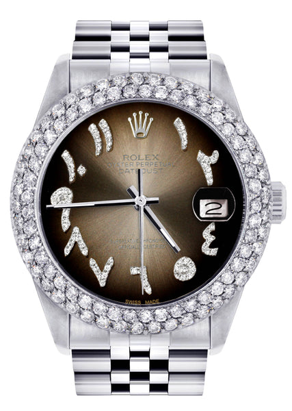 Mens Rolex Datejust Watch 16200 | 36Mm | Brown Arabic Diamond Dial | Two Row 4.25 Carat Bezel | Jubilee Band