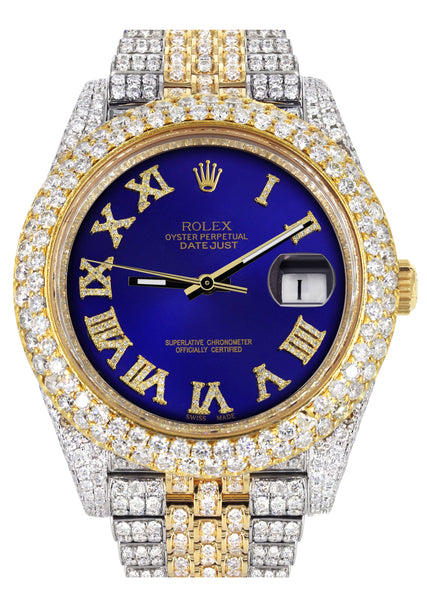 Diamond Iced Out Rolex Datejust 41 | 25 Carats Of Diamonds | Custom Royal Blue Roman Numeral Diamond Dial | Two Tone | Two Row | Jubilee Band