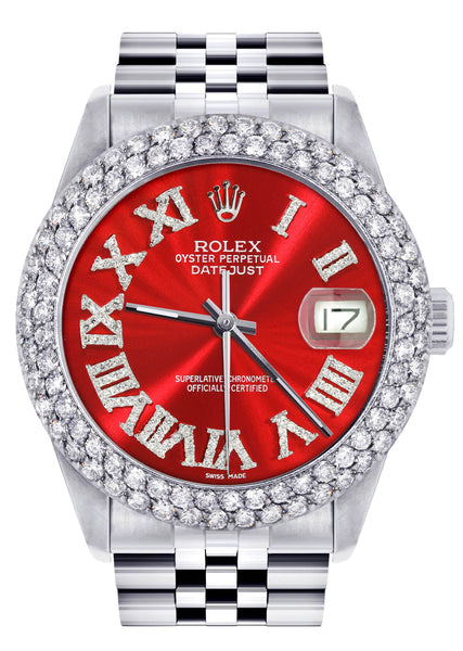Mens Rolex Datejust Watch 16200 | 36Mm | Red Roman Numeral Dial | Two Row 4.25 Carat Bezel | Jubilee Band