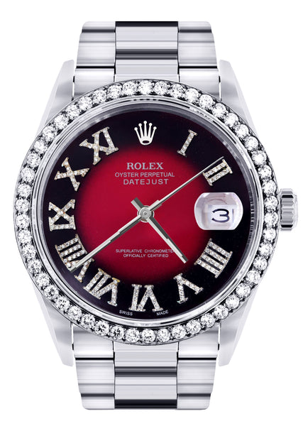 Diamond Mens Rolex Datejust Watch 16200 | 36Mm | Diamond Red Roman Numeral Dial | Oyster Band