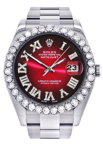 Rolex Datejust II Watch | 41 MM | Custom Red Black Roman Dial | Oyster Band