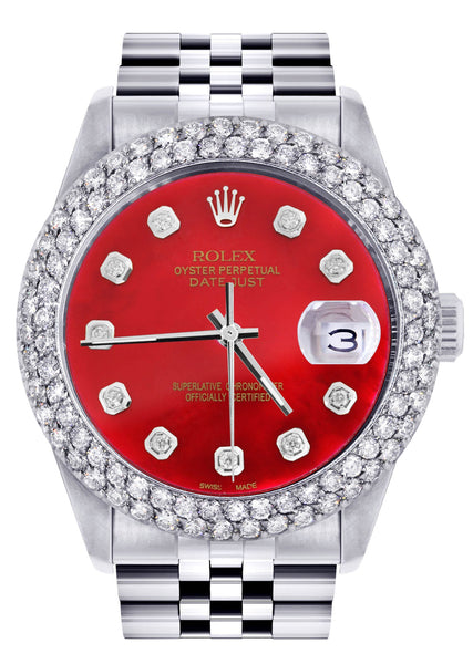 Mens Rolex Datejust Watch 16200 | 36Mm | Red Dial | Two Row 4.25 Carat Bezel | Jubilee Band