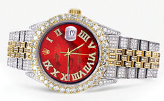 Iced Out Rolex Datejust 36 MM | Two Tone | 10 Carats of Diamonds | Red Mother of Pearl Roman Diamond Dial