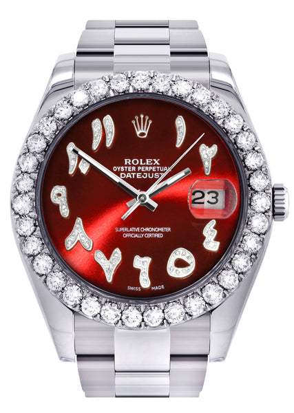 Rolex Datejust II Watch | 41 MM | Custom Red Arabic Dial | Oyster Band