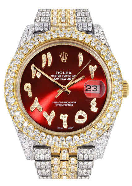 Diamond Iced Out Rolex Datejust 41 | 25 Carats Of Diamonds | Custom Red Arabic Numeral Diamond Dial | Two Tone | Two Row | Jubilee Band