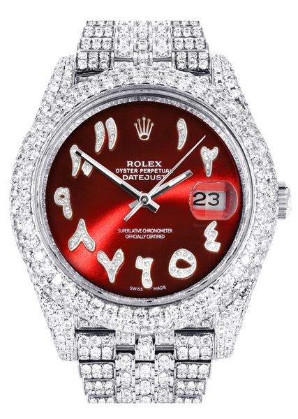 Diamond Iced Out Rolex Datejust 41 | 25 Carats Of Diamonds | Custom Red Arabic Numeral Diamond Dial | Two Row | Jubilee Band