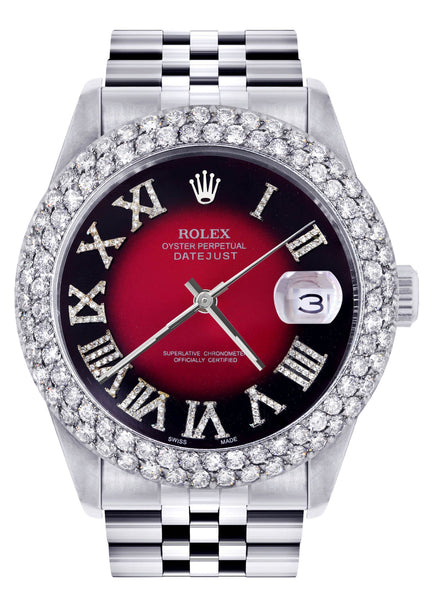 Mens Rolex Datejust Watch 16200 | 36Mm | Red Black Roman Numeral Dial | Two Row 4.25 Carat Bezel | Jubilee Band