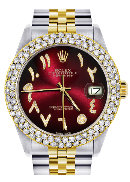 Diamond Gold Rolex Watch For Men 16233 | 36Mm | Red Black Arabic Diamond Dial | Two Row 4.25 Carat Bezel | Jubilee Band