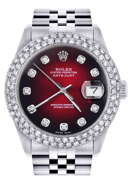 Mens Rolex Datejust Watch 16200 | 36Mm | Red Black Dial | Two Row 4.25 Carat Bezel | Jubilee Band