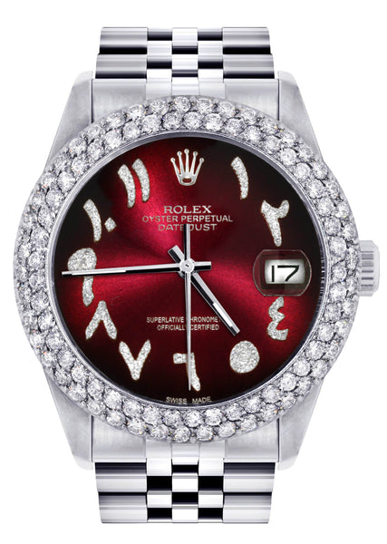 Mens Rolex Datejust Watch 16200 | 36Mm | Red Black Arabic Diamond Dial | Two Row 4.25 Carat Bezel | Jubilee Band