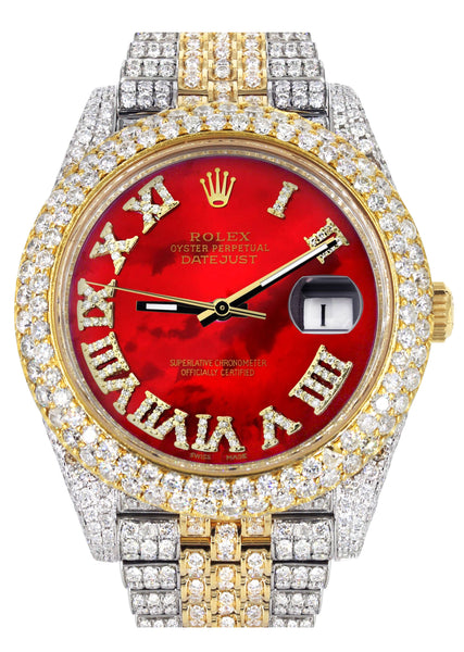 Diamond Iced Out Rolex Datejust 41 | 25 Carats Of Diamonds | Custom Red Mother of Pearl Roman Numeral Diamond Dial | Two Tone | Two Row | Jubilee Band