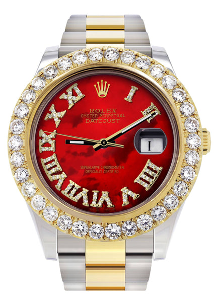 Rolex Datejust II Watch | 41 MM | 18K Yellow Gold & Stainless Steel | Custom Red Pearl Roman Dial | Oyster Band