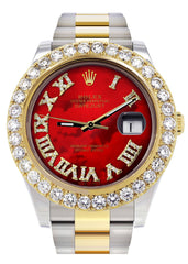 Rolex Datejust II Watch | 41 MM | 18K Yellow Gold & Stainless Steel | Custom Red Pearl Roman Dial | Oyster Band CUSTOM ROLEX FrostNYC