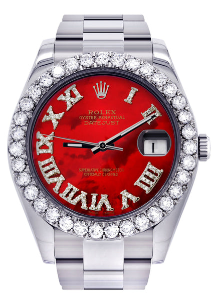 Rolex Datejust II Watch | 41 MM | Custom Red Pearl Roman Dial | Oyster Band