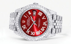 Diamond Iced Out Rolex Datejust 41 | 25 Carats Of Diamonds | Custom Red Roman Numeral Diamond Dial | Two Row | Jubilee Band