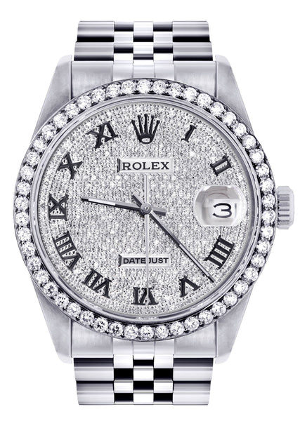 Womens Rolex Datejust Watch 16200  | 36MM | Full Diamond Roman Dial | Jubilee Band