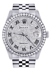 Diamond Rolex Datejust Watch | 36MM | Full Diamond Roman Dial | Jubilee Band CUSTOM ROLEX FrostNYC