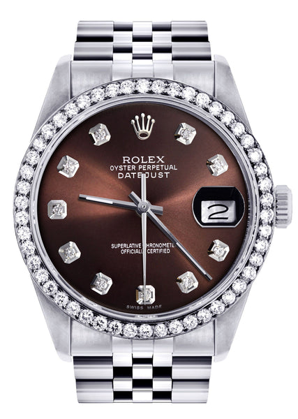 Diamond Mens  Rolex Datejust Watch 16200| 36MM | Chocolate Diamond Dial | Jubilee Band