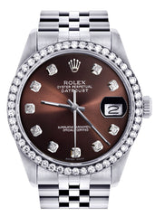 Diamond Rolex Datejust Watch | 36MM | Chocolate Diamond Dial | Jubilee Band