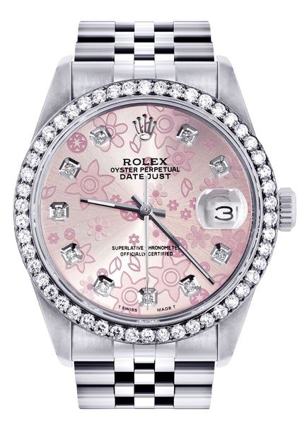 Diamond Mens Rolex Datejust Watch 16200 | 36MM | Pink Flower Diamond Dial | Jubilee Band