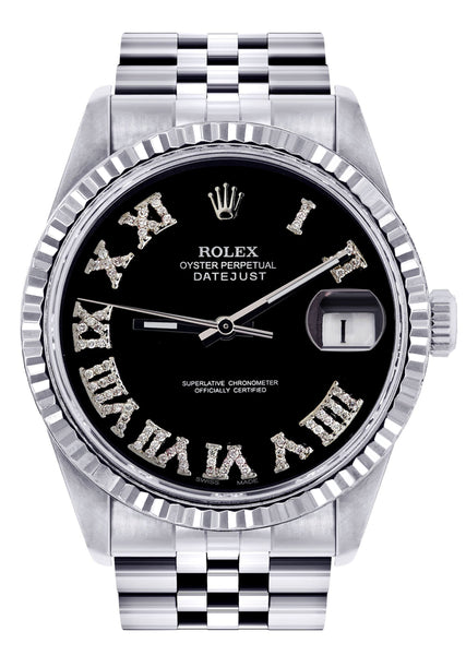 Mens Rolex Datejust Watch 16200  | 36Mm | Black Roman Numeral Dial | Jubilee Band