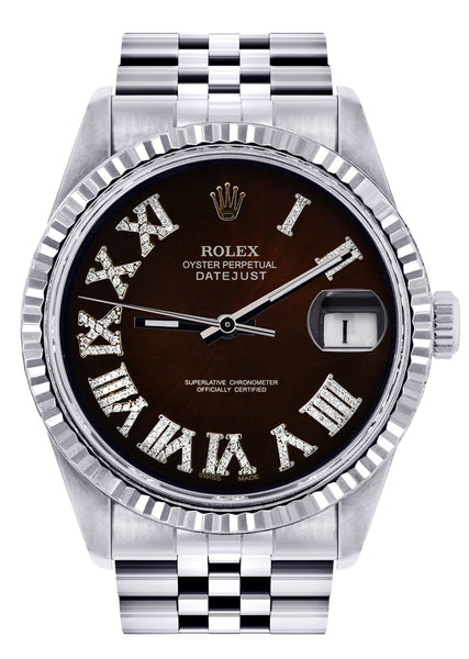 Mens Rolex Datejust Watch 16200  | 36Mm | Dark Brown Roman Numeral Dial | Jubilee Band