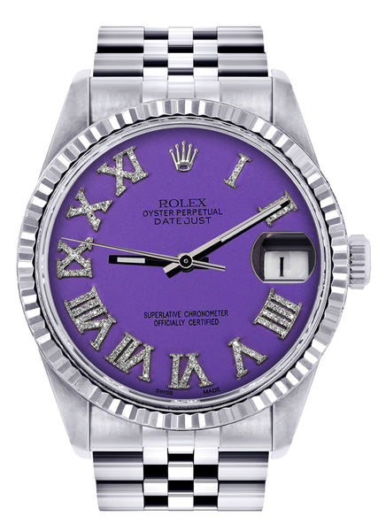 Mens Rolex Datejust Watch 16200  | 36Mm | Purple Roman Numeral Dial | Jubilee Band