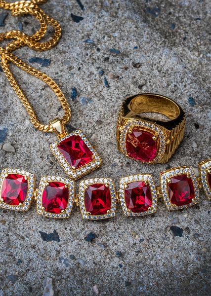 Gold Plated Ruby Chain & Bracelet & Ring