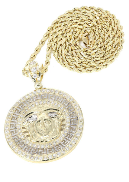 10K Yellow Gold Rope Chain & Versace Style Pendant | Appx. 14.4 Grams