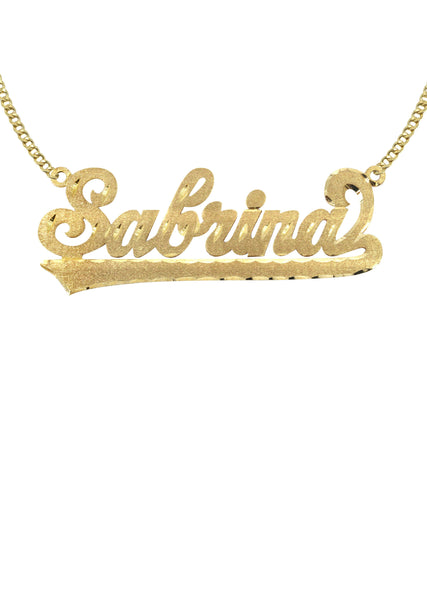 14K Ladies Diamond Cut Name Plate Necklace | Appx. 7.9 Grams