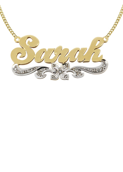 14K Ladies Two Tone Name Plate Necklace | Appx. 9.7 Grams