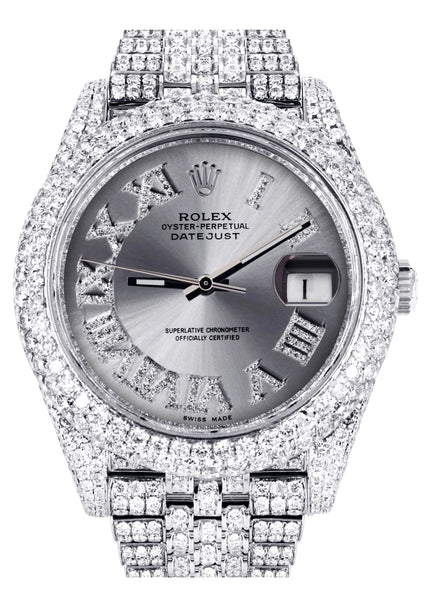 Diamond Iced Out Rolex Datejust 41 | 25 Carats Of Diamonds | Custom Silver Roman Numeral Diamond Dial | Two Row | Jubilee Band