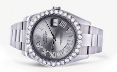 Rolex Datejust II Watch | 41 MM | Custom Silver Roman Dial | Oyster Band