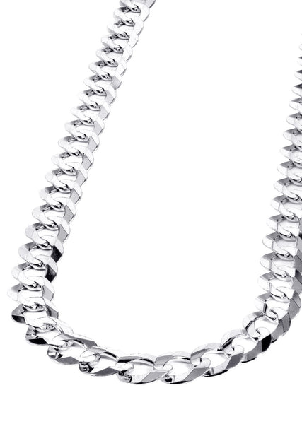 Mens White Gold Chain - Solid Cuban Link 10K Gold