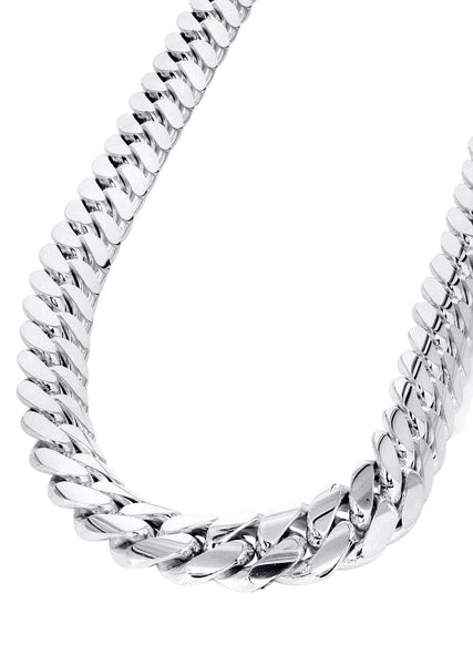 Mens White Gold Chain - Solid Miami Cuban Link 10K Gold