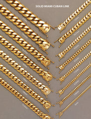 Solid Mens Miami Cuban Link Bracelet 10K Yellow Gold Men's Gold Bracelets FROST NYC