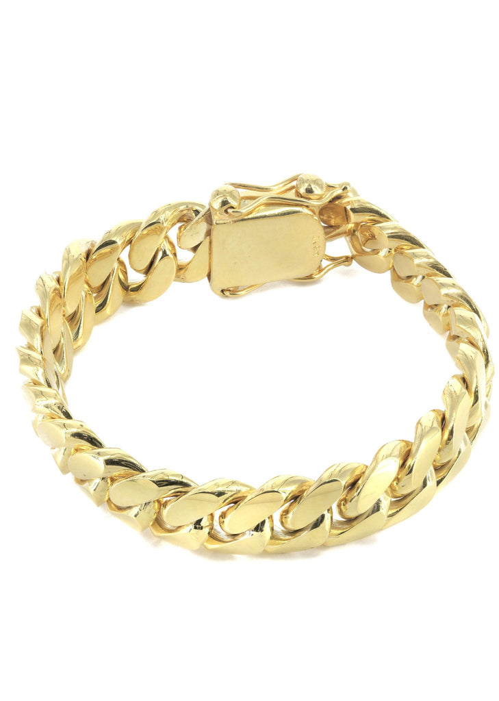 Solid Mens Miami Cuban Link Bracelet 10K Yellow Gold ...