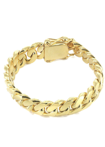 Solid Womens Miami Cuban Link Bracelet 10K Yellow Gold