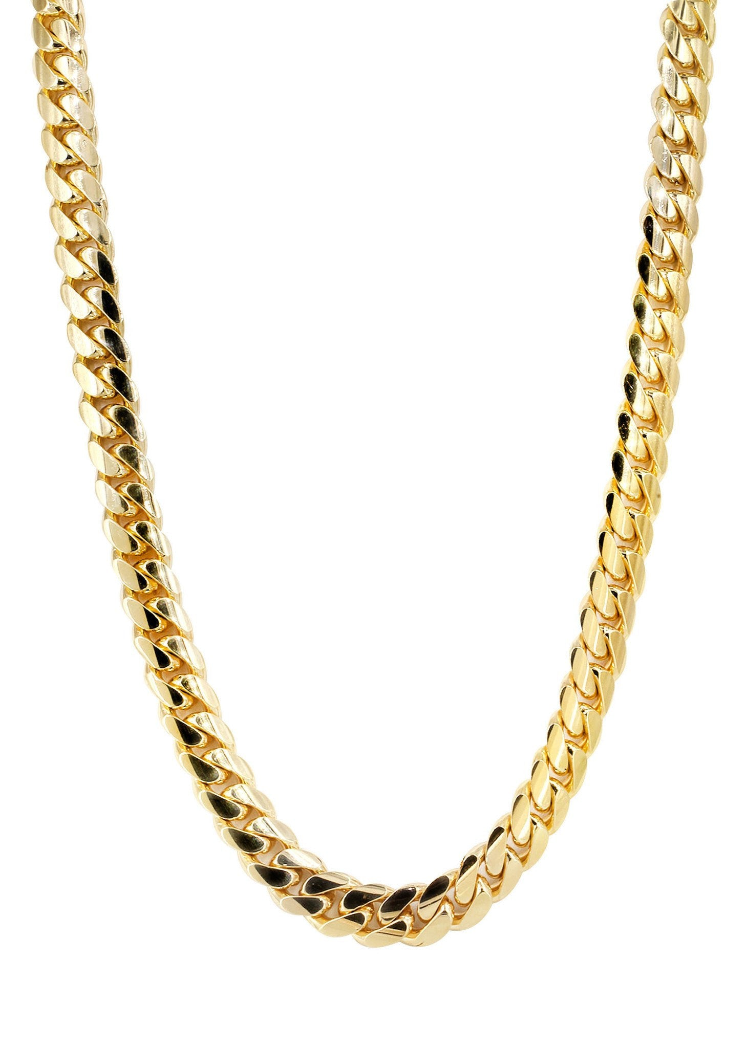 10k Gold Cuban Link Chain >> Solid Mens Miami Cuban Link Chain 10K Yellow Gold – FrostNYC