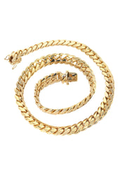 Solid Mens Miami Cuban Link Chain 10K Yellow Gold