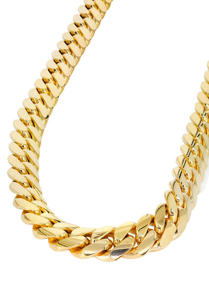 Gold Chain - Mens 10K Yellow Solid Miami Cuban Link Chain