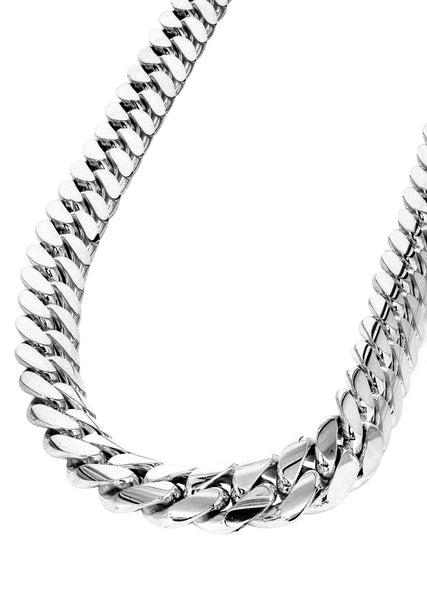 Womens 14K White Gold Chain - Solid Miami Cuban Link Chain 14K Gold
