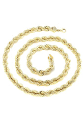 Solid Mens Rope Chain 10K Yellow Gold