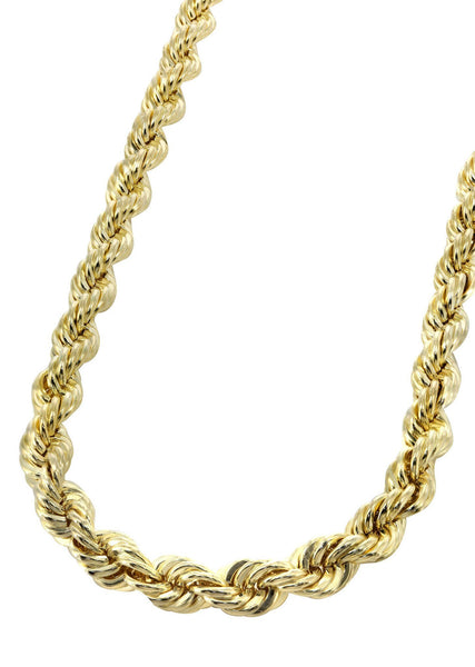 Womens 14K Gold Chain - Solid Rope Chain