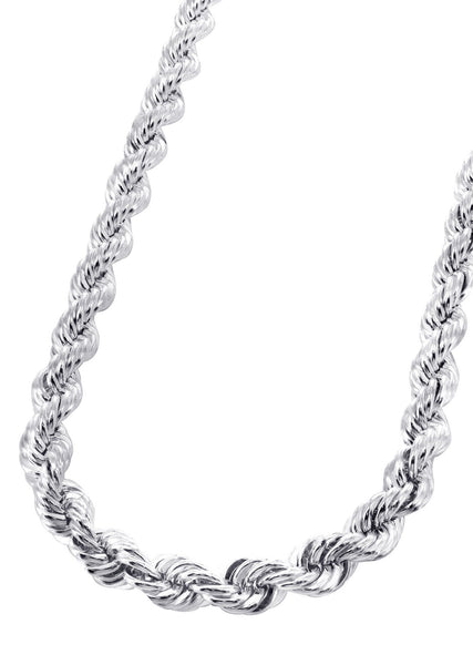 White Gold Chain - Mens Solid Rope Chain 10K Gold
