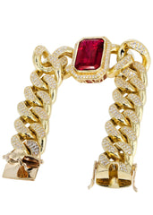 Solid Mens Ruby Miami Cuban Link Bracelet 10K Yellow Gold Men's Gold Bracelets FROST NYC