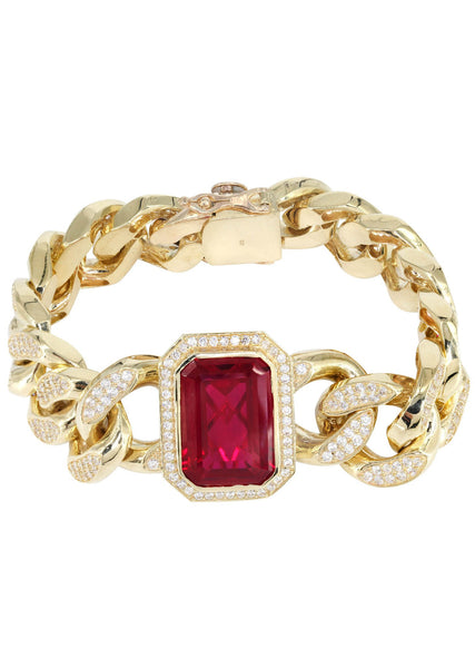 Solid Mens Ruby Miami Cuban Link Bracelet 10K Yellow Gold