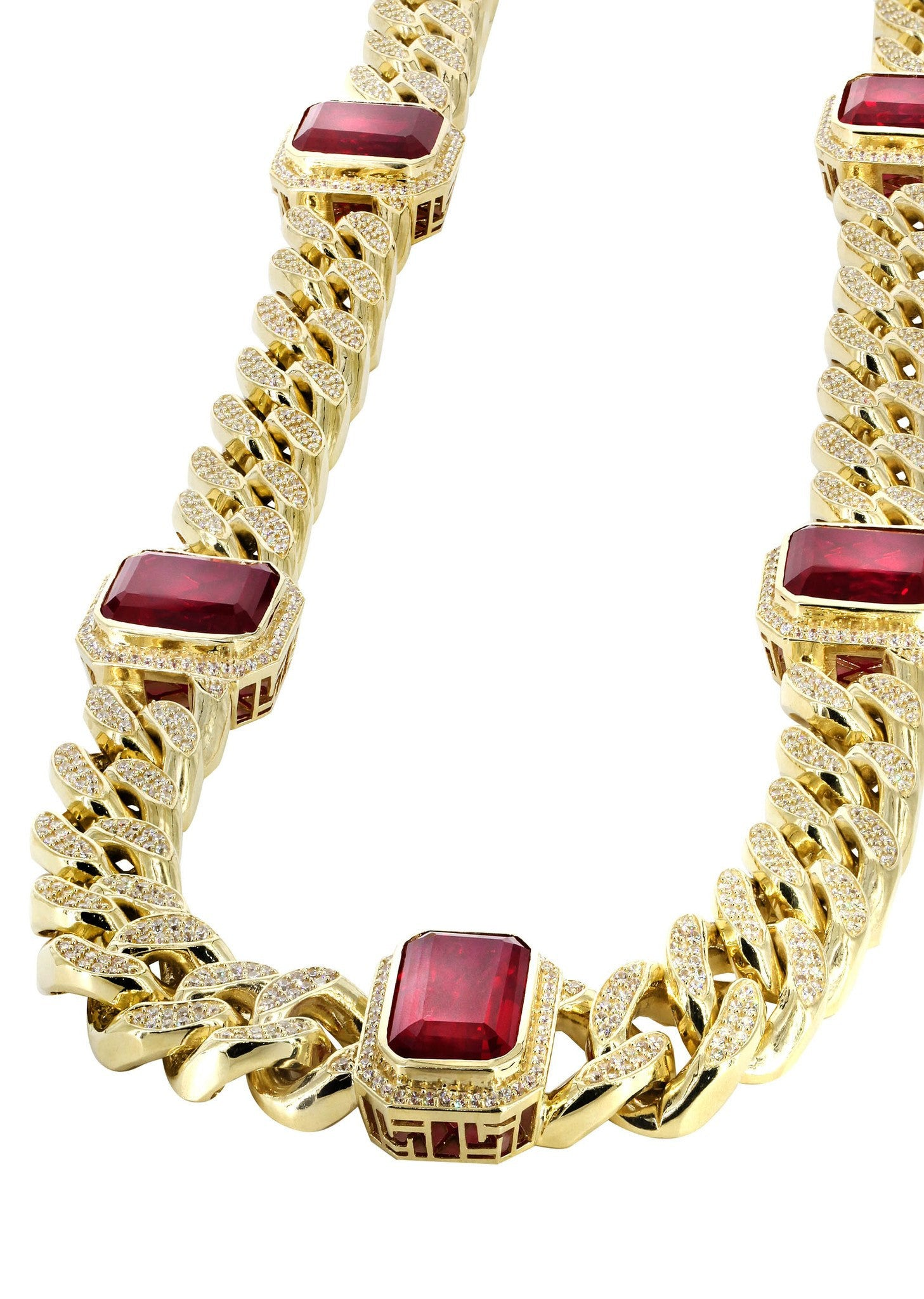Solid Mens Ruby & Cz Miami Cuban Link Chain 10k Yellow Gold