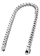 Solid Mens Franco Bracelet 10K White Gold