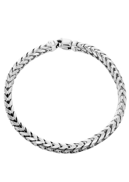 Solid Womens Franco Bracelet 10K White Gold